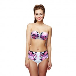 Woogoing WG81797pi Retro High Waist Floral Pattern Bikini Set Purple
