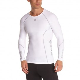 Jersey de compresión manga larga SKINS B60005005L-Blanco con Gris