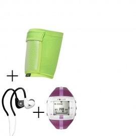 Reloj Monitor de Pulso Activo Fitness Polar FT4F-Rosa + audifonos Warrior y porta celular NXE