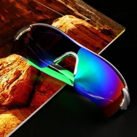 Deporte Ciclismo de bicicletas Bike Riding UV400 de protección Gafas de sol Gafas Goggle Lentes reflectantes azules de plata - E