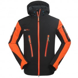 Moda Hombres aire libre transpirable Abrigos Fleece forrado Deportes Chaqueta Naranja