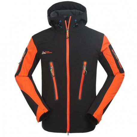 Moda Hombres aire libre transpirable Abrigos Fleece forrado Deportes Chaqueta Naranja - Envío Gratuito