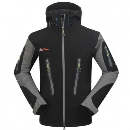 Moda Hombres aire libre transpirable Abrigos Fleece forrado Deportes Chaqueta Gris - Envío Gratuito
