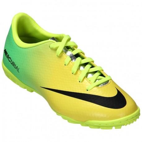 Tenis para Fútbol Rápido Nike Mercurial Victory 4 TF Jr Neo Lime - Amarillo + Verde - Envío Gratuito