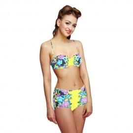 Woogoing WG81797y Retro High Waist Floral Pattern Bikini Set Yellow