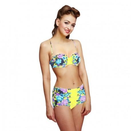 Woogoing WG81797y Retro High Waist Floral Pattern Bikini Set Yellow - Envío Gratuito