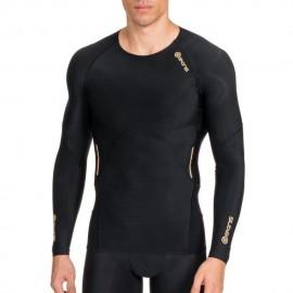 Jersey de compresión manga larga SKINS B60052005M-Negro con Amarillo