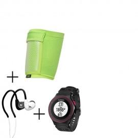 Reloj Deportivo Garmin Forerunner 225-Negro con Rojo + audifonos Warrior y porta celular NXE - Envío Gratuito