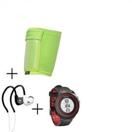 Reloj Garmin Forerunner 220 con Banda de Pecho-Negro con Rojo + audifonos Warrior y porta celular NXE