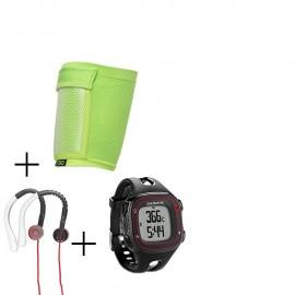 Reloj Monitor Garmin Forerunner 10 con GPS-Negro + audifonos Warrior y porta celular NXE
