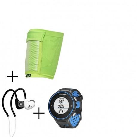 Reloj Garmin Forerunner 620 con Banda de Pecho-Negro con Azul + audifonos Warrior y porta celular NXE - Envío Gratuito