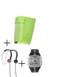 Reloj Monitor de Pulso Activo Fitness Polar FT7-Negro + audifonos Warrior y porta celular NXE