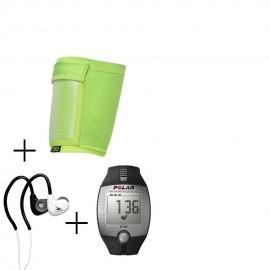 Reloj Monitor de Pulso Polar Activo Fitness FT2-Negro + audifonos Warrior y porta celular NXE