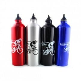 Bebida de aluminio Senderismo portátil Ciclismo jarro de agua botella de agua Deportes al aire libre Negro - Envío Gratuito