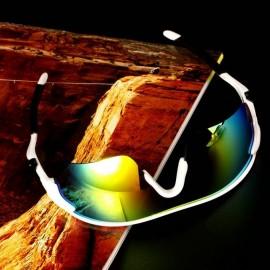 Deporte Ciclismo de bicicletas Bike Riding UV400 de protección Gafas de sol Gafas Goggle Amarillo negro lente reflexiva