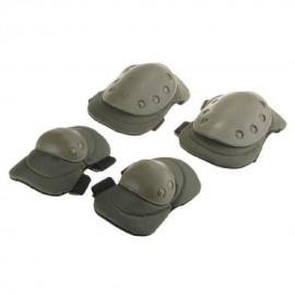 Elenxs Verde Seguridad 4 Deportes Rodilla Codo protector protector del cojín Gear Ejército Nylon