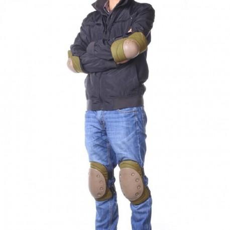Elenxs Seguridad 4 Deportes Rodilla Codo protector protector del cojín Gear Nylon Tan - Envío Gratuito