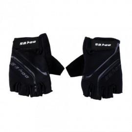 Guantes del dedo sahoo Bike Negro exterior transpirable deporte de la bicicleta GEL ciclo medios Negro L