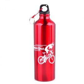 Ciclismo acampan Deportes aleación de aluminio botella de agua 750ml Red Exterior