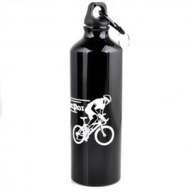 Ciclismo acampan Deportes aleación de aluminio botella de agua 750ml Negro al aire libre