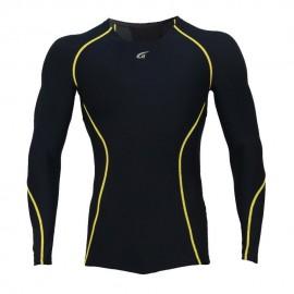 Camiseta Atletica Hombre Compresión Tee Negro YT004