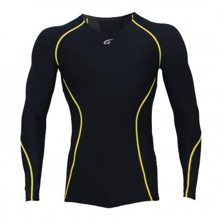 Camiseta Atletica Hombre Compresión Tee Negro YT004 - Envío Gratuito
