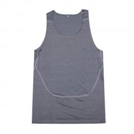 Los hombres transpirable Quick-Dry apretada formación deportiva Chaleco (gris oscuro)