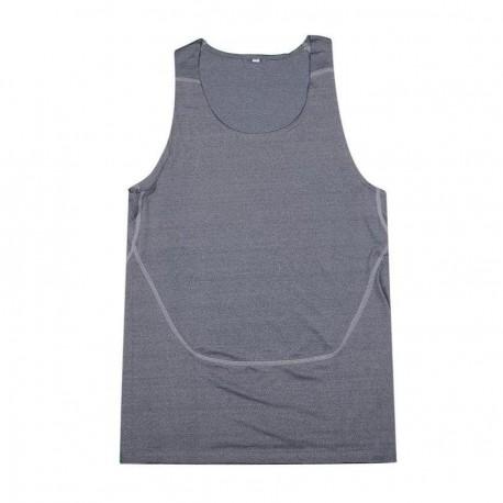 Los hombres transpirable Quick-Dry apretada formación deportiva Chaleco (gris oscuro) - Envío Gratuito