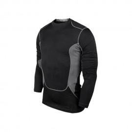 Los hombres de PRO gimnasio Fitness Entrenamiento Deportivo Marcha de secado rápido manga larga T-shirt (negro)
