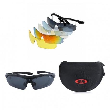 Deportes al aire libre bicicleta ciclismo gafas polarizaron gafas de sol 5 lentes reemplazables UV400 Unisex - Envío Gratuito