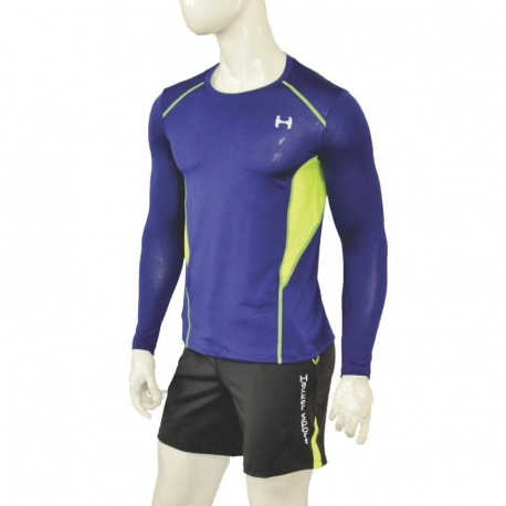 Camisa Dri-Fit de compresión Hacker Sport C44A-Azul, amarillo fosforescente - Envío Gratuito