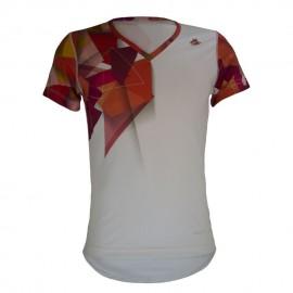 Playera de Hombre TriFerrari 3F Rosso con Doble Composición DryFIT Costuras Planas de Manga Corta y Cuello Corte V-Blanco