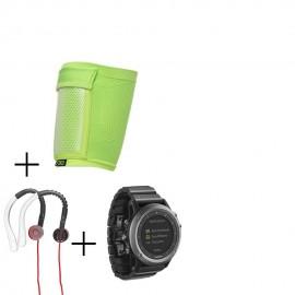 Reloj Multideporte Garmin Fenix 3 Zafiro-Gris + audifonos Warrior y porta celular NXE