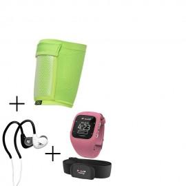 Monitor De Ritmo Cardíaco Polar A300-Rosa + audifonos Warrior y porta celular NXE