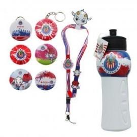kit de Souvenirs Oficiales Chivas: 1 Listón a cuello + 1 Kit de Fotobotones (6 piezas) + 1 Chivalindro