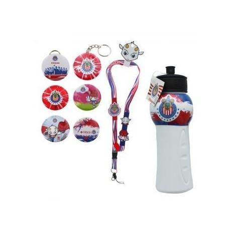 kit de Souvenirs Oficiales Chivas: 1 Listón a cuello + 1 Kit de Fotobotones (6 piezas) + 1 Chivalindro - Envío Gratuito