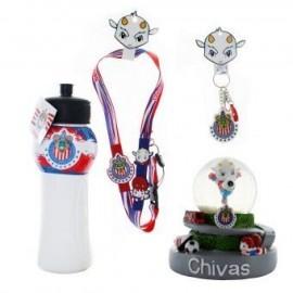 Kit de Souvenirs Oficiales Chivas: 1 Listón a cuello + 1 Llavero PVC + 1 Chivalindro + 1 Figura Decorativa