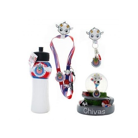 Kit de Souvenirs Oficiales Chivas: 1 Listón a cuello + 1 Llavero PVC + 1 Chivalindro + 1 Figura Decorativa - Envío Gratuito