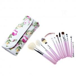 Set 12 Brochas Profesionales Para Maquillaje Florales..