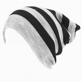 Gorro largo Smart Gorro doble vista Modelo de rayas estilo mate color combinado negro y gris claro -gris - Envío Gratuito