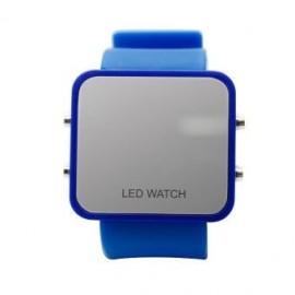 Reloj Led Espejo Con Correa De Silicon Azul Rey.. - Envío Gratuito